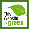 A green box with a leaf and the text This Website is Green